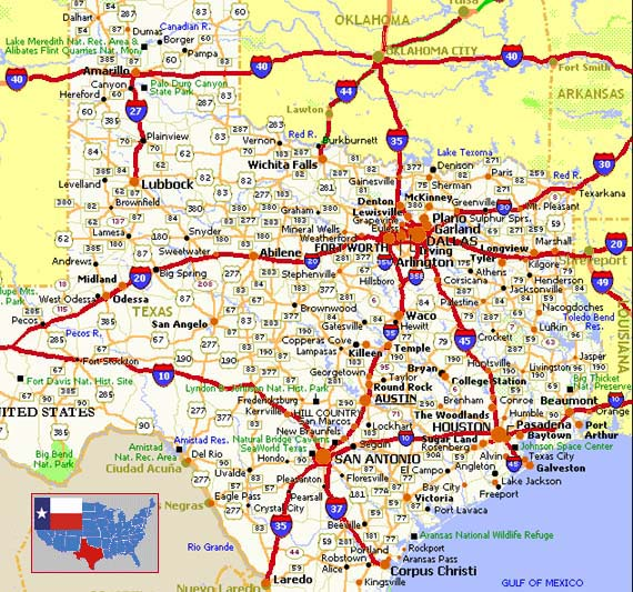 the road map above shows the driving route taken through all four regions and chosen major cities start on highway 45 and pass through houston and dallas